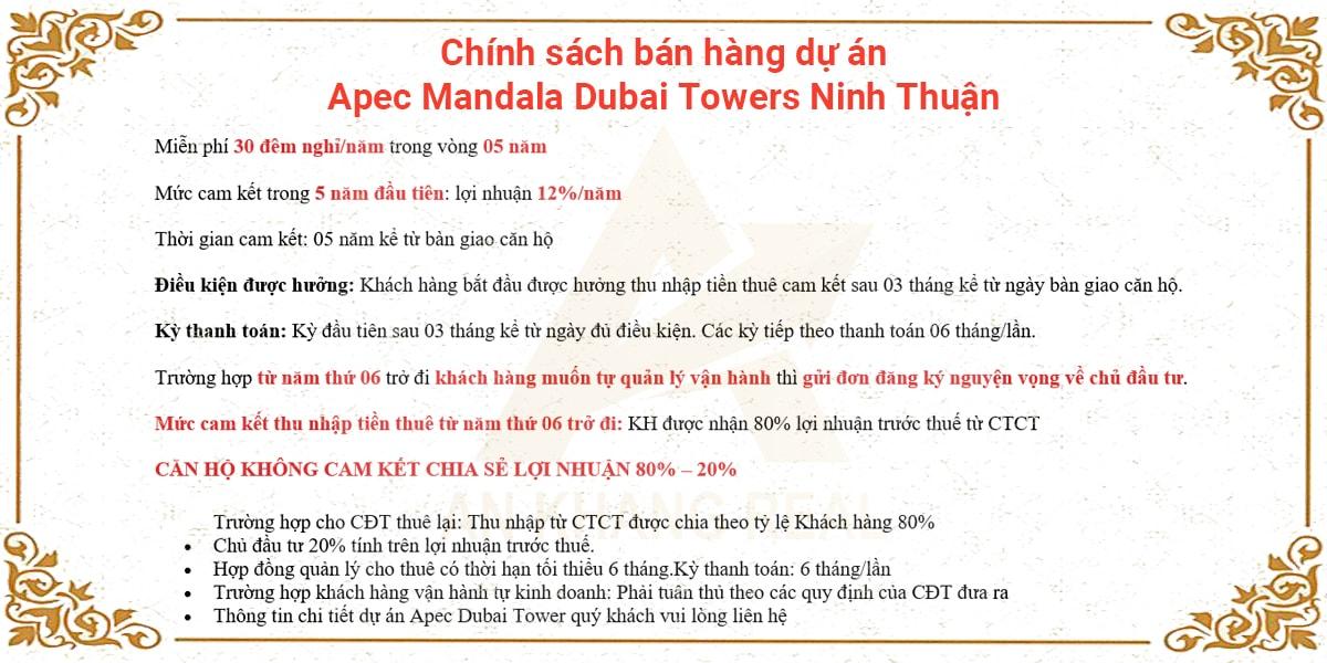Chính sách bán hàng dự án Apec Mandala Dubai Towers Ninh Thuận