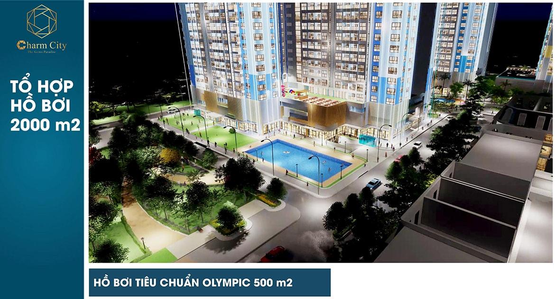 Hồ bơi tiêu chuẩn Olympic bên trong dự án Charm City