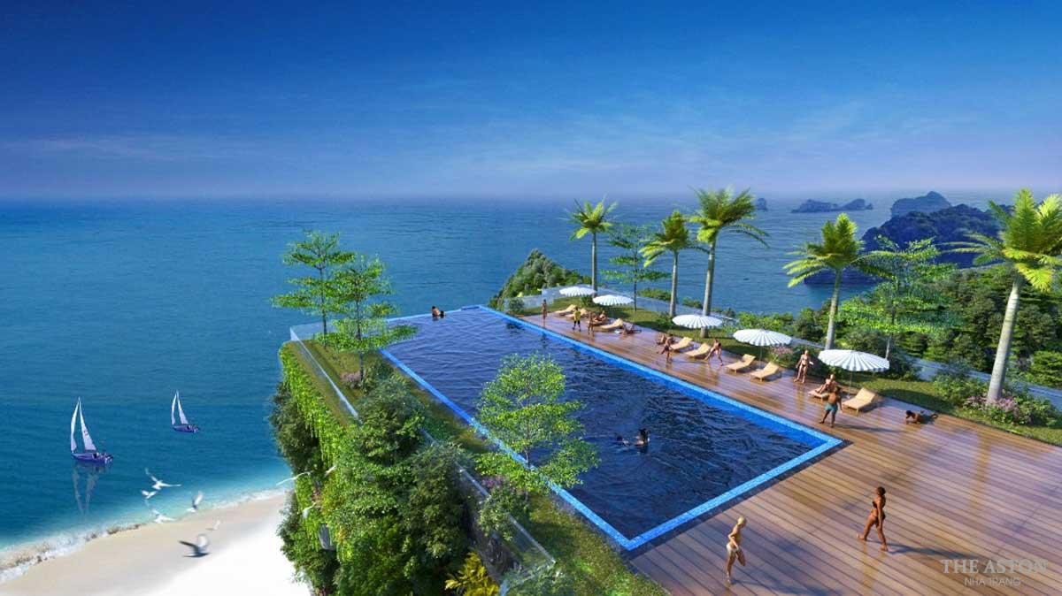 Hồ bơi vô cực bên trong dự án The Aston Nha Trang