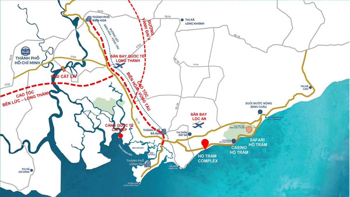 Hồ Tràm Complex kết nối với các tuyến đường lớn
