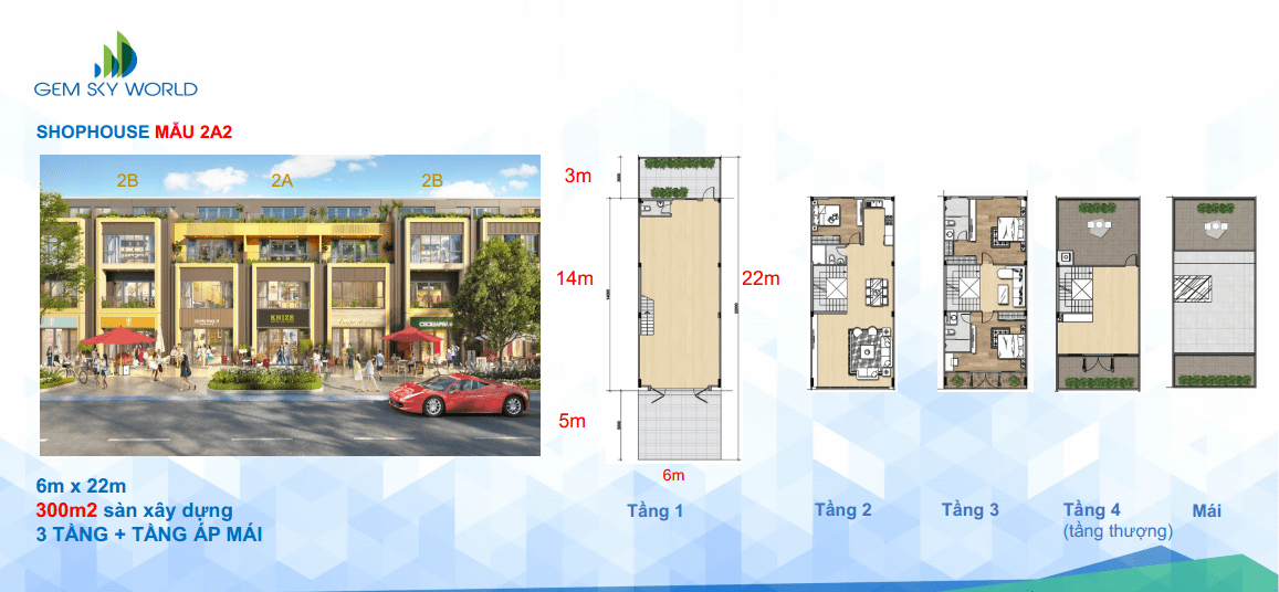 Mặt bằng Shophouse mẫu 2A2 dự án Gem Sky World