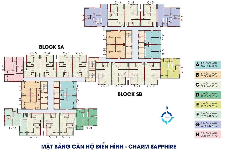 Mặt bằng căn hộ điển hình dự án Charm City
