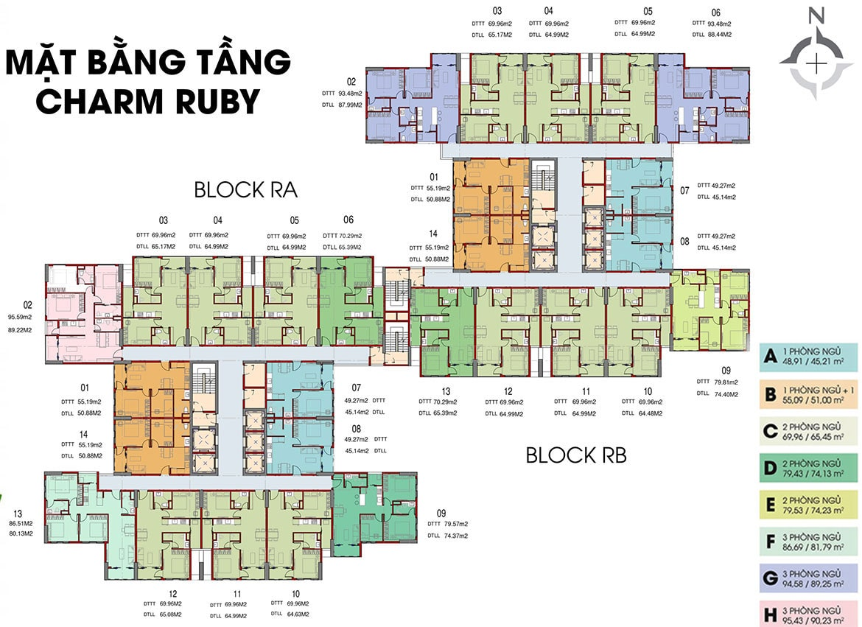 Mặt bằng tầng Charm Ruby dự án Charm City