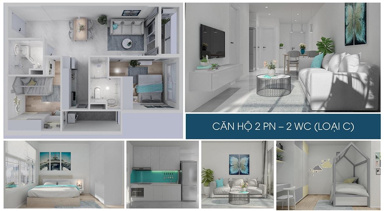 Nhà mẫu căn hộ 2 PN dự án Charm City