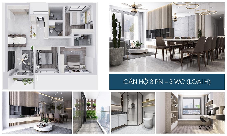 Nhà mẫu căn hộ 3 PN dự án Charm City