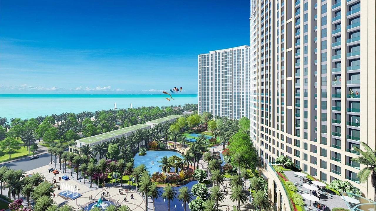 Phối cảnh khu vui chơi phía trước dự án Hồ Tràm Complex