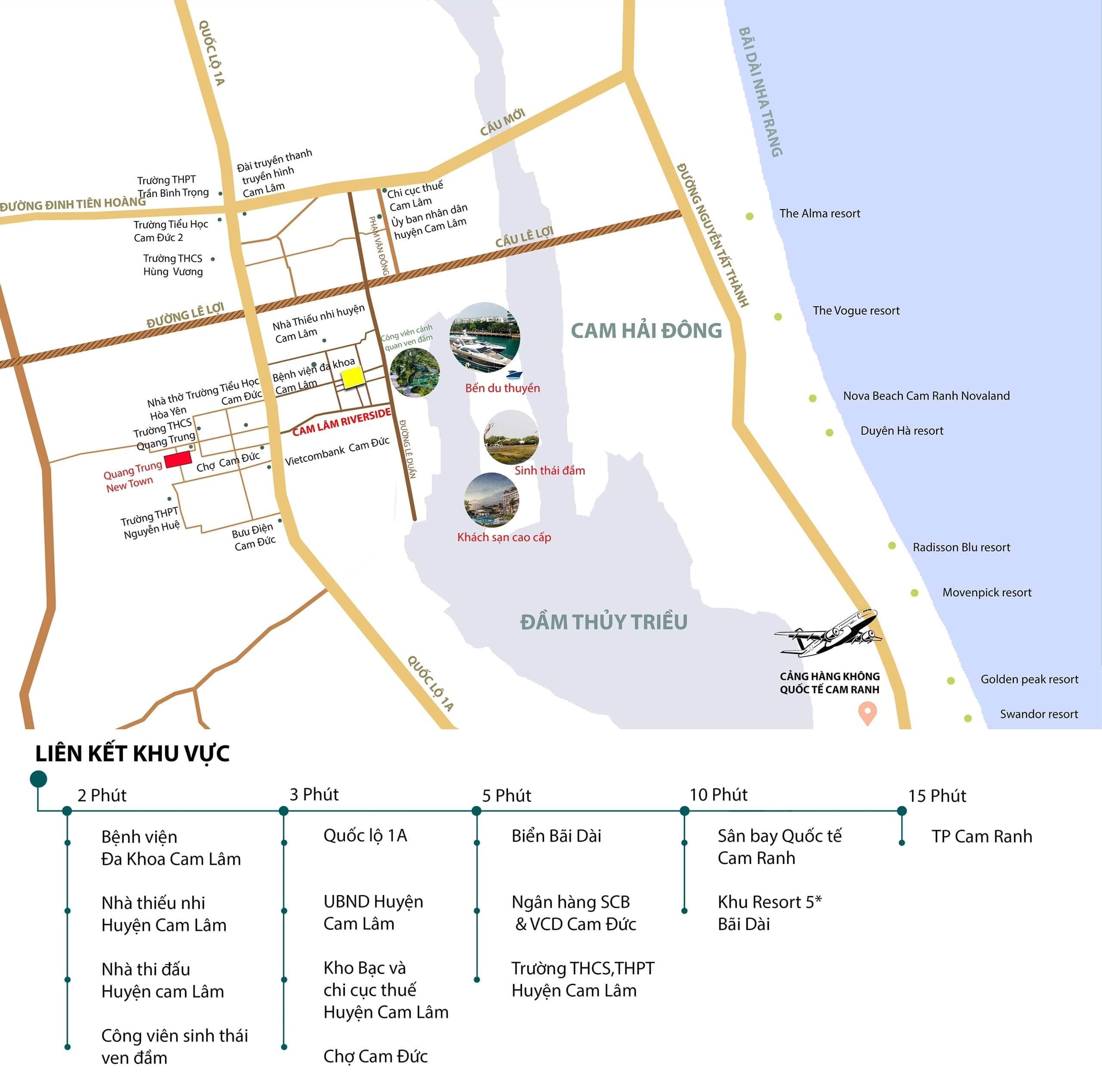 Sơ đồ vị trí kết nối khu vực dự án Cam Lâm Riverside
