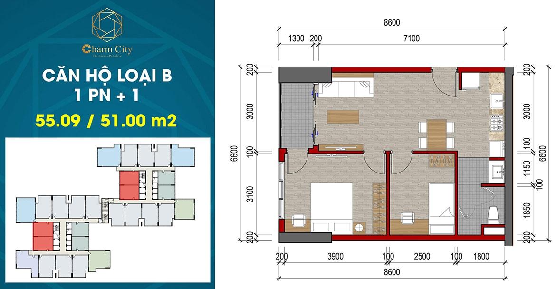 Thiết kế căn hộ loại B dự án Charm City