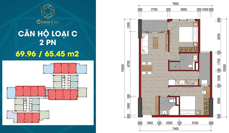 Thiết kế căn hộ loại C dự án Charm City