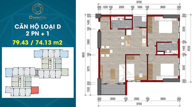 Thiết kế căn hộ loại D dự án Charm City