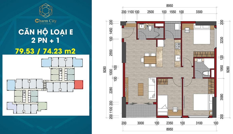 Thiết kế căn hộ loại E dự án Charm City