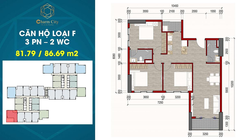 Thiết kế căn hộ loại F dự án Charm City