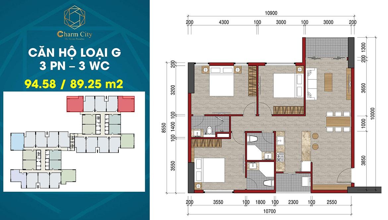 Thiết kế căn hộ loại G dự án Charm City