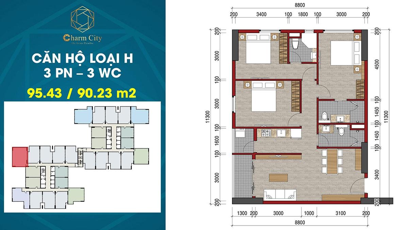 Thiết kế căn hộ loại H dự án Charm City