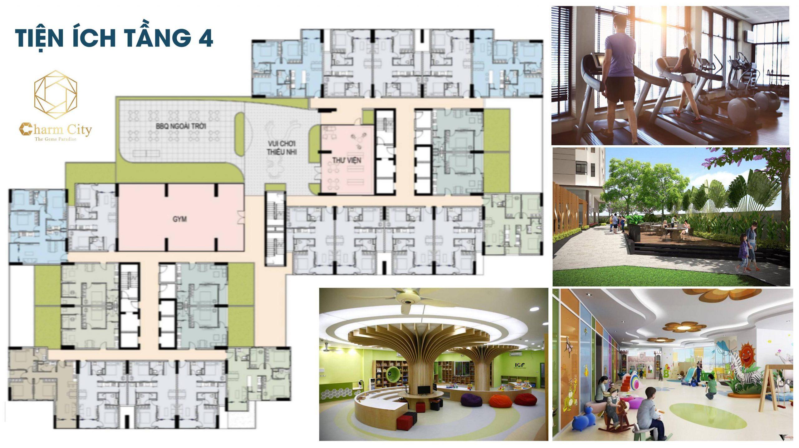 Tiện ích tầng 4 của dự án Charm City