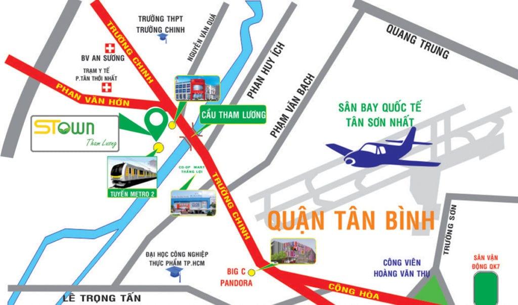 Vị trí dự án căn hộ Stown Tham Lương