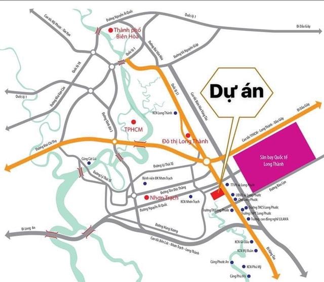 Vị trí dự án The Golden City so với sân bay quốc tế Long Thành