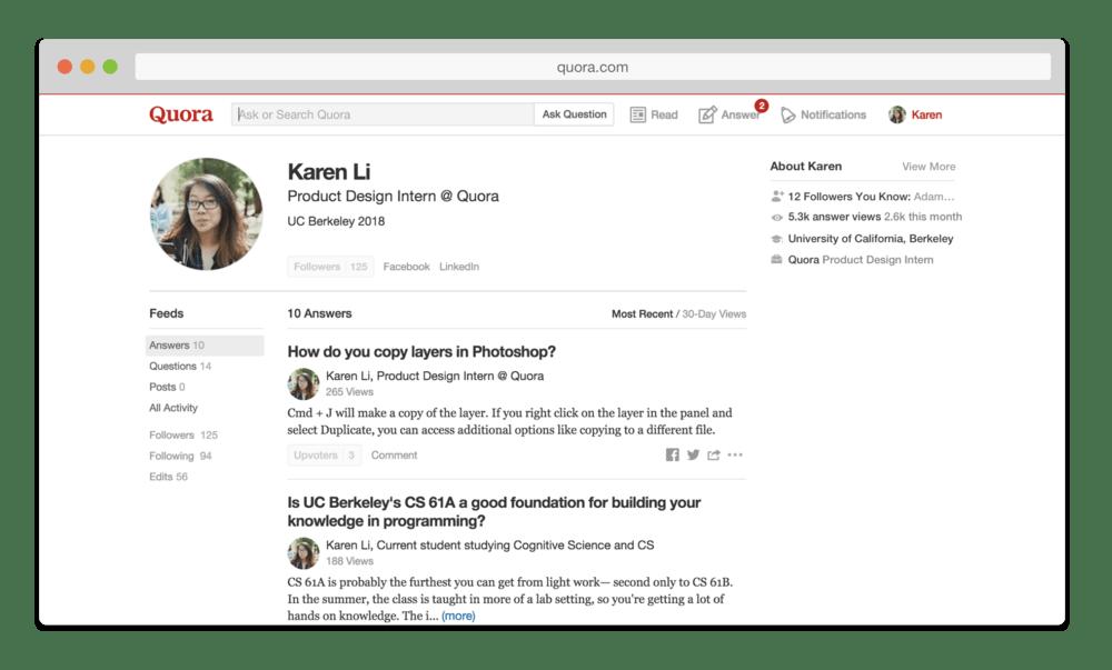 GIao diện người dùng trên Quora