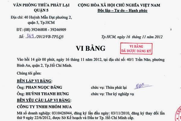 Giá trị pháp lý của Vi Bằng