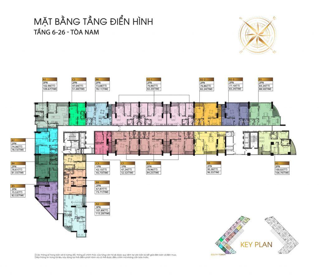 Mặt bằng tầng điển hình căn hộ The Minato Residence