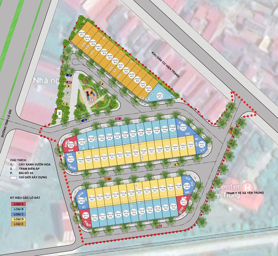 Mặt bằng tổng thể dự án Yên Trung Residence