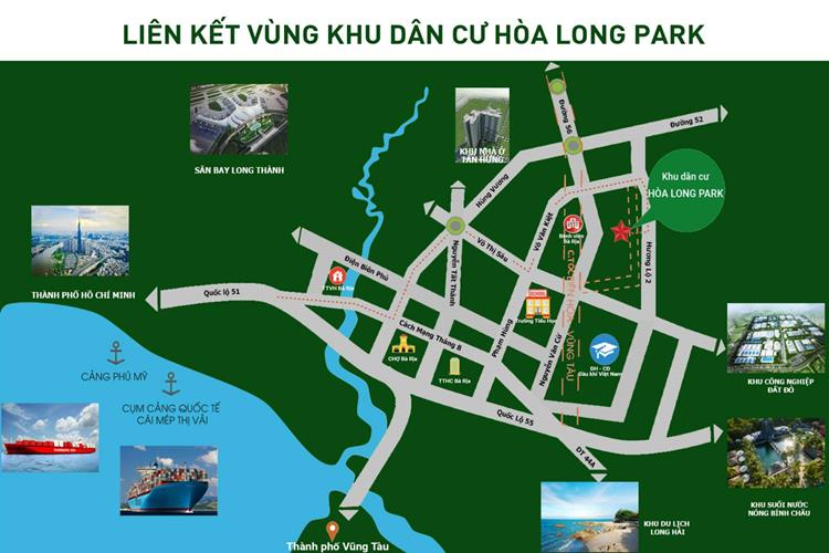 Sơ đồ liên kết vùng của Hòa Long Park