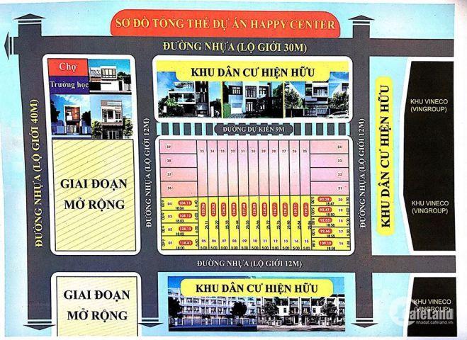 Sơ đồ phân lô dự án Happy Center Land