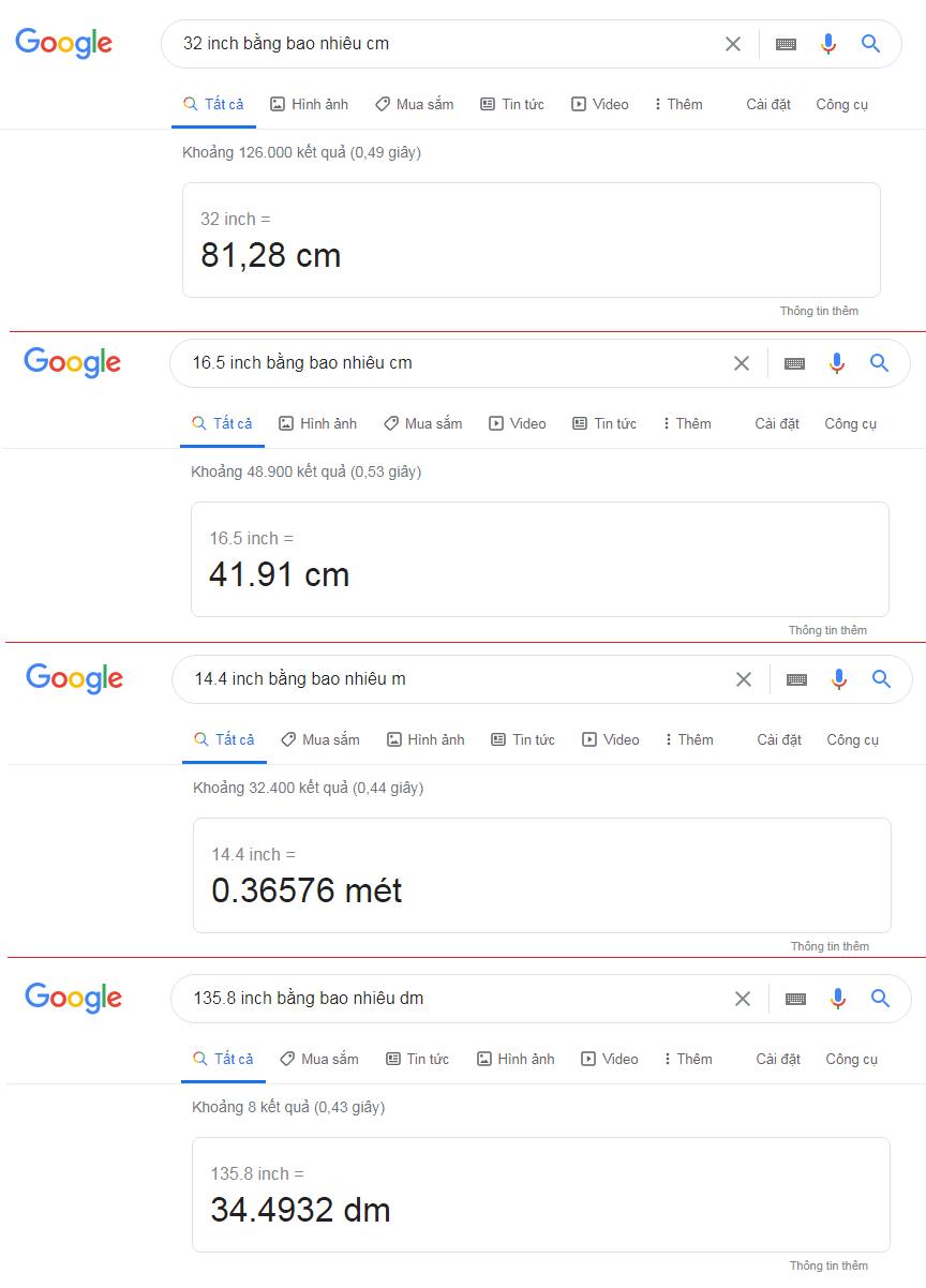 Sử dụng công cụ Google để đổi inch