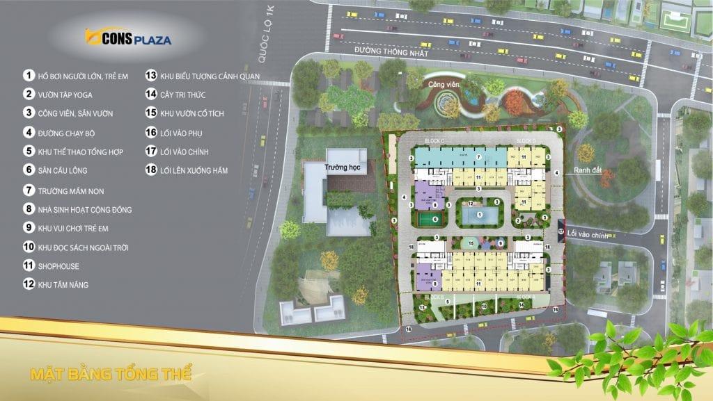 Mặt bằng tổng thể dự án Bcons Plaza